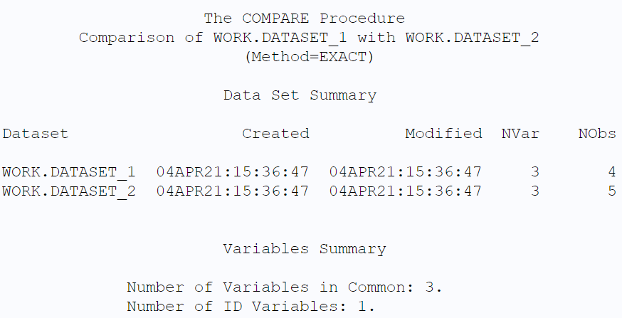 Use PROC COMPARE to compare two SAS datasets based on a common ID variable.