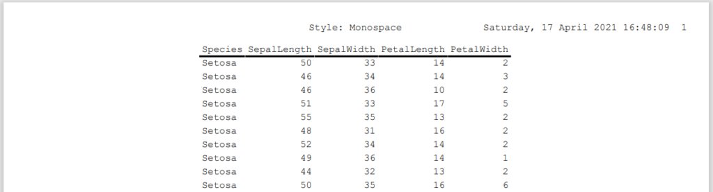 Control the style of the SAS Output in a PDF file: Monospace