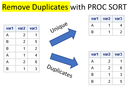 Remove duplicates with PROC SORT. One variable.