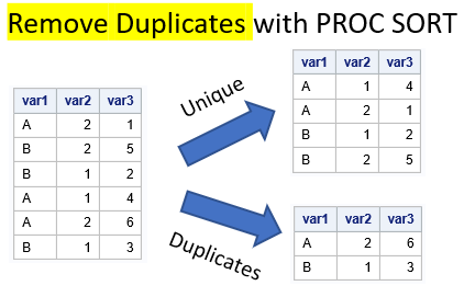 Remove duplicates with PROC SORT. Multiple variables.