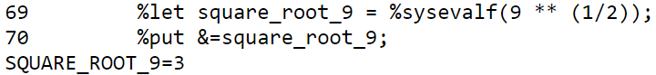 Find the square root in a SAS macro function with the double-asterisks.