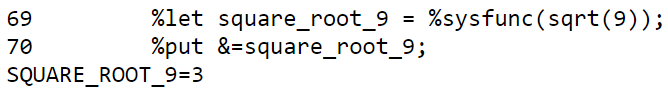 Calculate the square root in a macro with the SQRT function